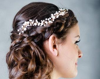 Bridal hair vine, pearl hair vine, wedding hair accessory, hair vine, pearl hair accessory, crown, bridal headpiece, bridal pearl headpiece