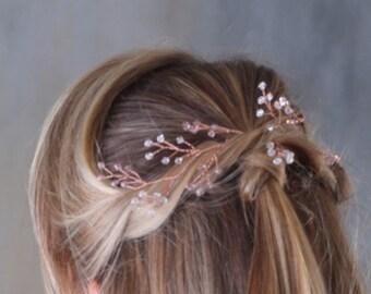 Rose gold hair vine, bridal hair vine, rose gold wedding accessory, hair vine, wedding headpiece, crystal hair vine, long hair vine, wreath