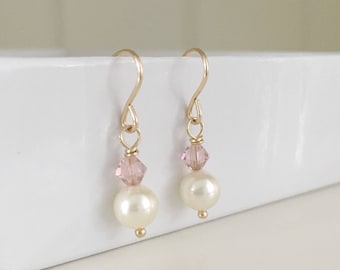 Wedding pearl earrings, wedding earrings, pearl bridal jewelry, gold filled earrings, blush earrings, bridesmaid gifts, blush pink earrings