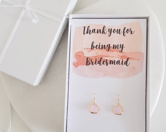Blush pink earrings, thank you bridesmaid, gold bridal earrings, gold filled earrings, blush bridesmaid, blush wedding accessories,