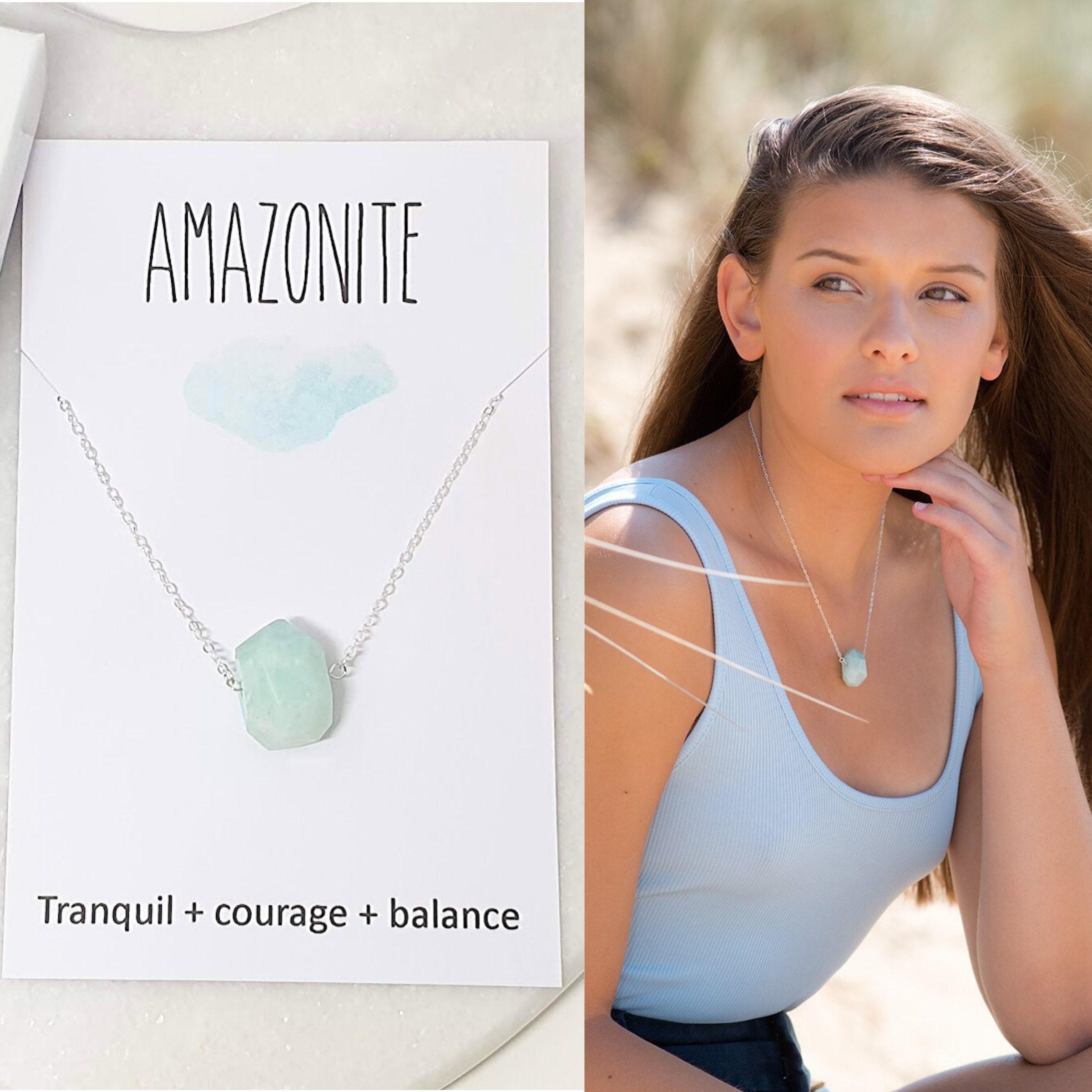 amazonite pendant Amazonite necklace raw amazonite necklace healing crystal necklace