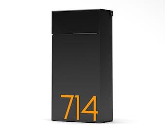 City B - Black Slim modern and contemporary mailbox, Vsons design - Wall Mounted mailbox - black