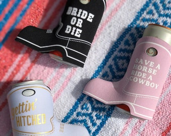 COWGIRL BOOT can cooler, Bachelorette party favors, Bride or Die, Nash Bash, Cowboy Boot, Bachelorette, Slim Can Cooler, yeehaw, nash bach