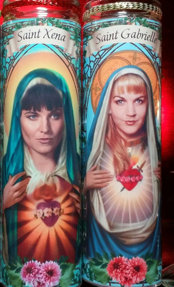 Set of 2 Xena Warrior Princess cast - Xena andGabrielle - Celebrity Saint  Prayer Candles