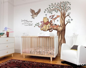 Large winnie the pooh style kids set bedroom Wall art Vinyl Decal Sticker V405