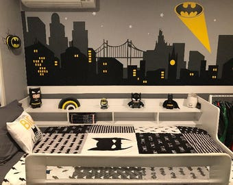 batman wall decal etsy rh etsy com batman childrens room Batman Boys Room