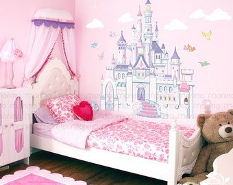High Quality Disney Princess Castle With Colorful Birds And Squirrel Large Wall Sticker,Kids  Room Bedroom Playroom Wall Decal,Nursery Wall Decal [MT014]