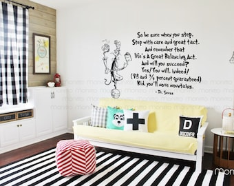 Dr Seuss Kid you will move mountains Cat juggling on ball -Kids Wall StickersModern Home Art and LivingCool and Fun Wall Decals [MT004]  sc 1 st  Etsy & Dr seuss wall decal | Etsy