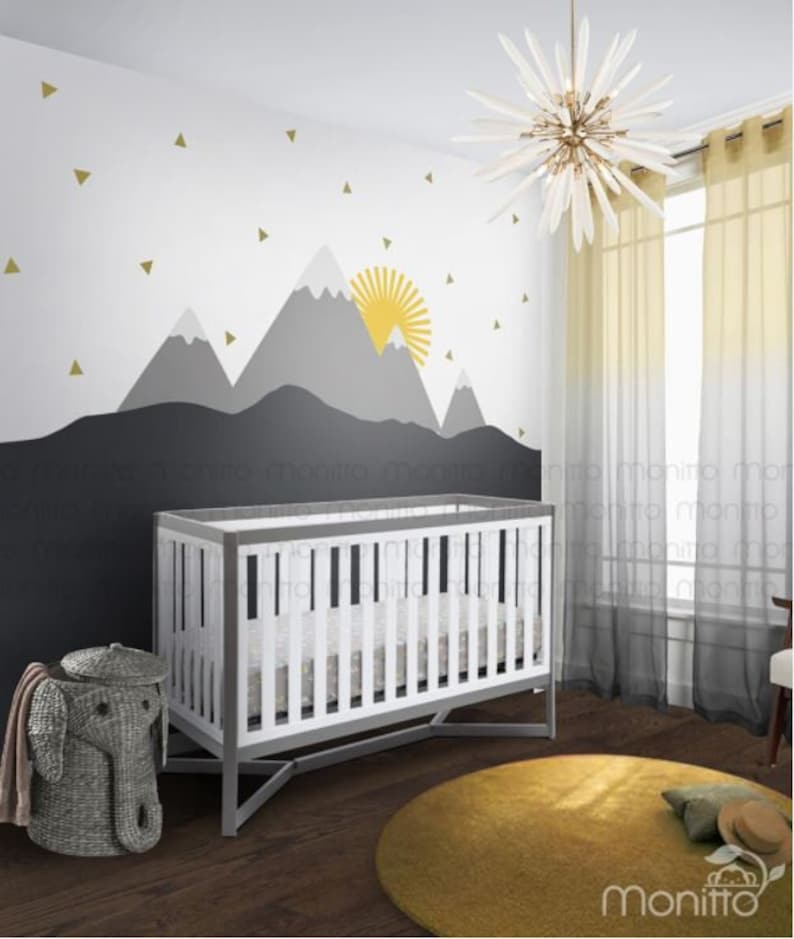 sunrise with gold triangles grey mountain scenery nursery | etsy