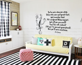 Dr Seuss Kid you will move mountains Cat juggling on ball -Kids Wall Stickers,Modern Home Art and Living,Cool and Fun Wall Decals [MT004]