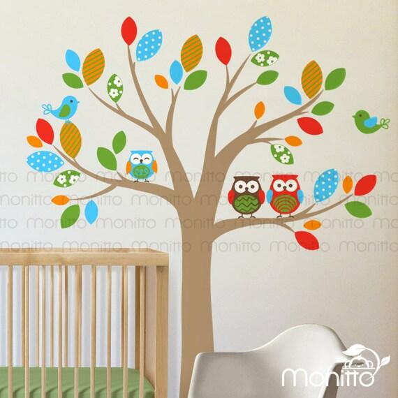 Colourful leaf cute Owl squirrel nursery Kid Baby Girl Boy wall Decal sticker