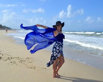 Royal Blue Kimono| Boho Kimono| Bohemian Kimono| Beach Kimono| Festival Clothing| custom made | beach wear | Gypsy| Chiffon Kimono| Chiffon