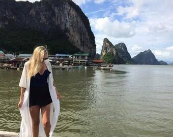 White Kimono| Boho Kimono| Chiffon Kimono | Bohemian Kimono| Beach Kimono| Festival Clothing| Beach Wear| Pool Outfit| Gypsy