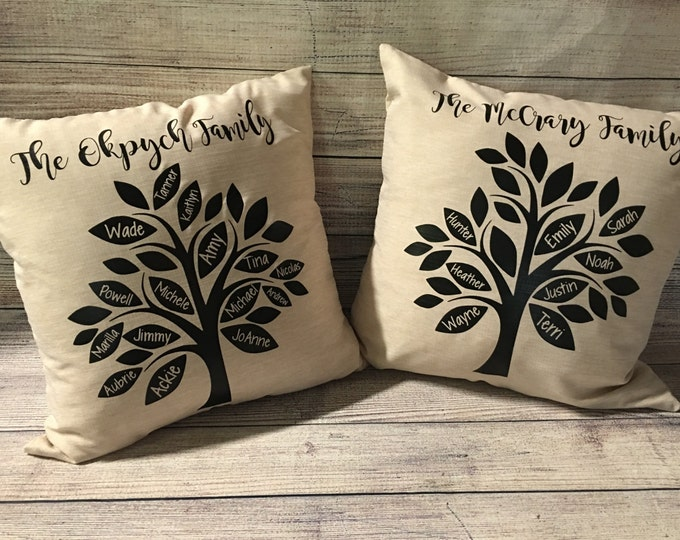 Personalized family tree pillowcase 18x18