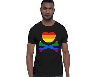 Rainbow Pride Heart Pirate T Shirt (unisex)