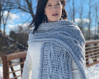 Live Loop Cable Wrap Oversized Shawl Crochet Pattern