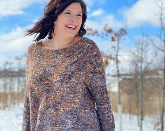 Suriously Soft Top Down Crochet High Low Hem Sweater Pattern