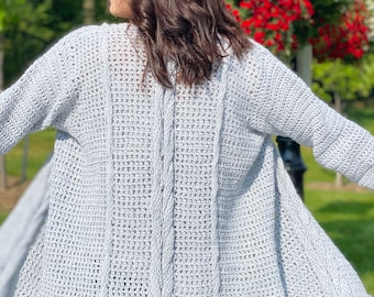Revelry Bottom Up Live Loop Cable Crochet Cardi Pattern