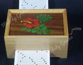 20 or 30 Note Hand Crank Paper Strip Music Box with Hawaii Flower inlay, DIY your Own Tune, Personalise or Customise Available