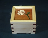 Music Box with Auto Play Stop trigger and Rose Marquetry Inlay, Play Select Tune from List, Personalise or Customise Available
