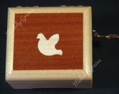 Handcrafted wooden music box with dove marquetry inlay and play selected tune from list, Perosnalise and customise available