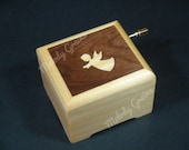 Handcrafted wooden music box with Angel marquetry inlay and play selected tune from list, Perosnalise and customise available