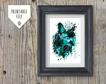 Black Cat Wall Art: Downloadable print, Watercolour Cat print, Mini Panther, Cat Portrait, Instant download