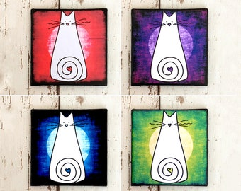 Colourful Cat Coaster Set: Cat Gifts, Ceramic Drink Coasters, Cat Home Decor, Housewarming, Gift for Cat Lover, White Cat, Gift for Women
