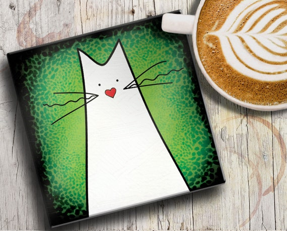 CAT COASTER: white cat on colourful green/black square ceramic tile drinks coaster. Cute kitten gift for a cat lady, cat lovers and cat mums