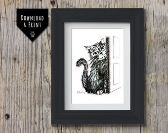 Cute Cat Wall Art: Downloadable print, Pen and Ink Cat print, Cat Portrait, Instant download, Cheeky Kitten