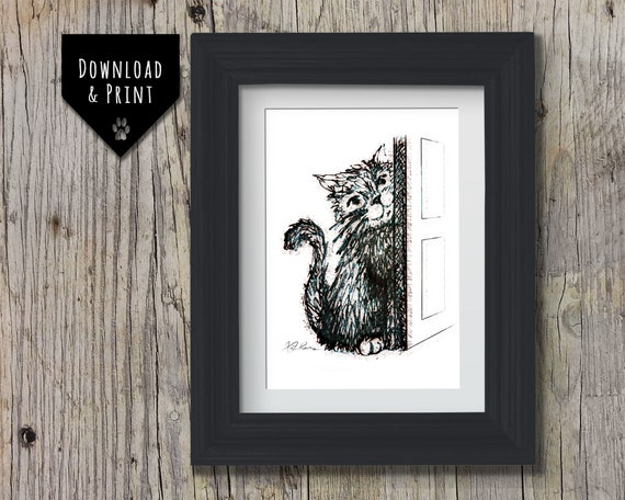 Cute Cat Wall Art: Downloadable print, Pen and Ink Cat print, Cat Portrait, Instant download, Cheeky Kitten