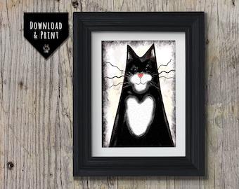Cat Wall Art: Tuxedo Cat, Downloadable print, Watercolour Cat print, Cat Portrait, Instant download, Sleeping Cat Print, Black and white Cat