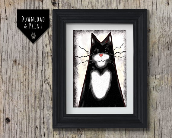 Cat Wall Art: Tuxedo Cat, Downloadable print, Watercolour Cat print, Cat Portrait, Instant download, Sleeping Cat Print, Black and white Cat