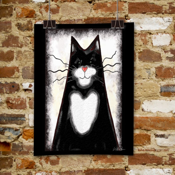 A4 Print Black and White Cat watercolour - unframed print