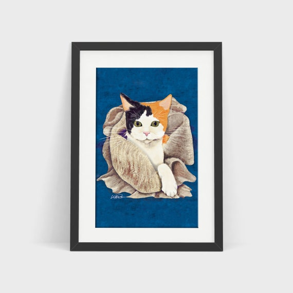 CAT PAINTING: Giclée art print. Calico cat portrait by UK cat artist. High quality, professionally printed, unframed wall art, various sizes