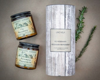Soy Scented Candle Gift Set, FIG ROSEMARY, Rosemary PEPPERMINT, best friend gift