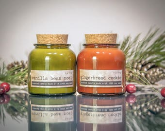 Holiday Candles Gift Set, GINGERBREAD COOKIE and Vanilla Bean Noel, scented soy candle, 8 oz, holiday gift, Christmas stocking, Secret Santa