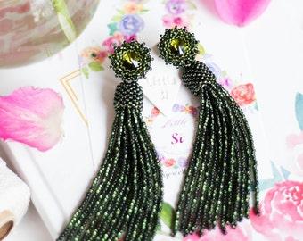 Olive green tassel earrings Bridesmaid earrings BOHO chic earrings Long beaded tassel earrings Statement earrings Beaded fringe earrings