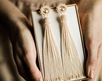 Ivory white beaded tassel earrings Wedding earrings Long bridal earrings Bridesmaid earrings BOHO wedding earrings Swarovski earrings