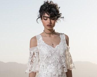 Lace wedding top, Unique wedding top, Two piece wedding dress, V neck wedding top, Short sleeve wedding top, Noor Wedding Top