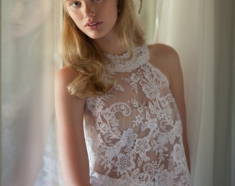 Lace wedding top, Collar wedding top, Two piece wedding dress, Unique wedding top, Emily Wedding Top
