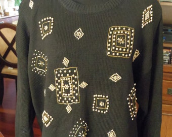 Victoria Jones Black sweater beaded accent 80's Large