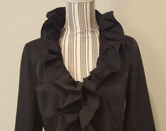 Vintage Black Ruffle Steampunk Jacket