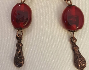 Red Glass Beads and Metal Earrings