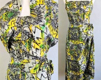 d8b103471eae Reserved do not buy *** Incredible Time Capsule Vintage 1940s Paradise  Sportswear Silk Sarong Hawaiian Tiki Dress with Bolero
