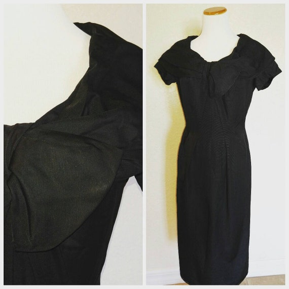 Clearance *** Gorgeous Black Vintage Dress with Ov