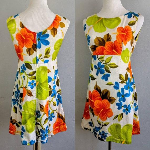 Vintage Ui-Maikai Barkcloth Hawaiian Tiki Dress