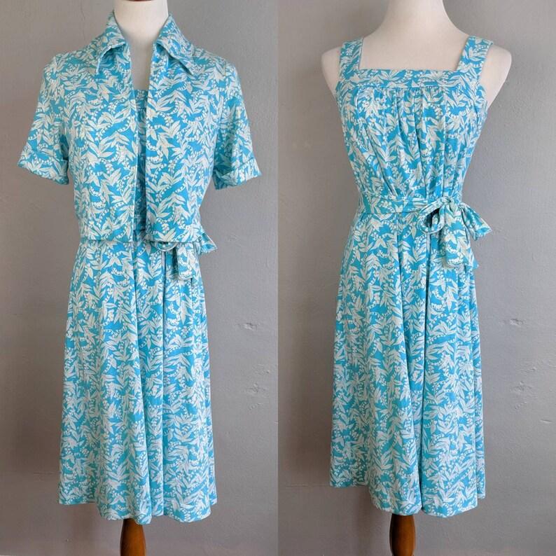 Fun and Flirty Vintage Jersey Knit Sundress and Bolero Set with Belt Tie