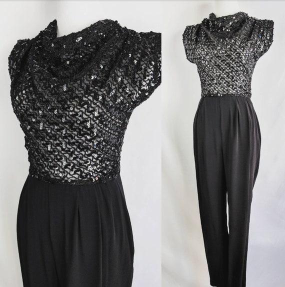 SALE Fantastic Vintage Sheer Black Sequin Jumpsuit