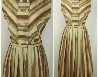 Beautiful Vintage Striped Cotton Day Dress